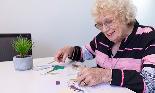 Dianne Tear enjoying some papercraft at home
