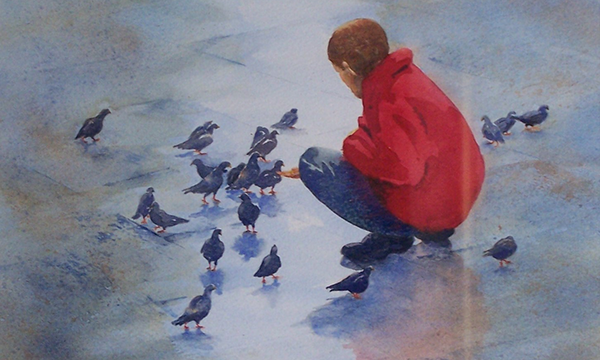 Pam's painting of child in red jumper with the birds
